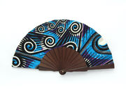 Olelé Blue African Wax Print Hand Fan