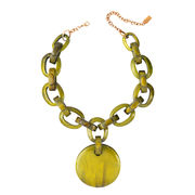 Dominique Denaive Yellow Green Chain Pendant