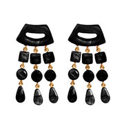 Dominique Denaive Shiny Black Statement Earrings with Fringe