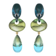 Dominique Denaive Long Blue Green Earrings