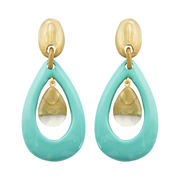 Dominique Denaive Large Earrings in Turquoise and Gold