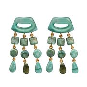 Dominique Denaive Lagoon Statement Earrings with Fringe