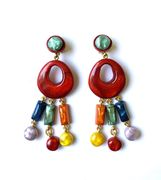 Dominique Denaive Long Multicolor Earrings