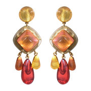 Dominique Denaive Multicolor Statement Earrings, Peach