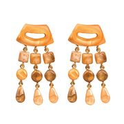 Dominique Denaive Peach Statement Earrings with Fringe