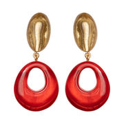 Dominique Denaive True Red & Gold Drop Earrings