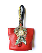 Dori Csengeri Red Gustav Klimt Inspired Couture Bag