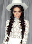 Kristina Dragomir White Hat with Black Lace Mask