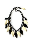 Marion Godart Black & Cream White Necklace with Leaves