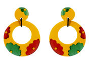 Marion Godart Large Yellow Hoop Earrings with Flowers