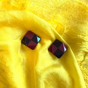 Marion Godart Check Earrings in Dark Plum