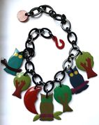 Marion Godart Necklace with Owls in Dark Colors