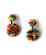 Marion Godart's Multicolor Round Mosaic Earrings