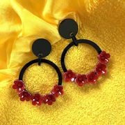 Marion Godart Red and Black Flower Hoop Earrings