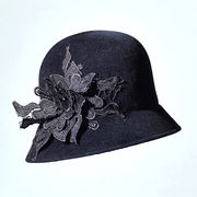 Misa Harada Cloche Hat in Black Velour