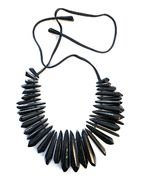 Monies Spiky Black Necklace in Polyester