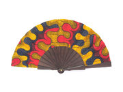 Olelé Black Yellow Red African Hand Fan