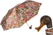Pasotti Renaissance Patterned Folding Umbrella with Duck Handle