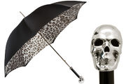 Pasotti Grey Leopard Umbrella with Silver Skull Handle