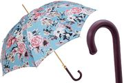 Pasotti Flowered Pastel Blue Umbrella with Leather Handle