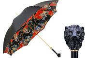 Pasotti Black Lion Umbrella with Special Red & Black Fabric