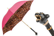 Pasotti Pink Animal Print Umbrella with Panther Handle