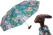 Pasotti Folding Umbrella with Rabbit Handle and Flowered Print