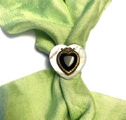 Patrice Black & White Heart Ring