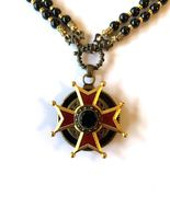 Patrice Enameled Maltese Cross Pendant