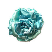 Turquoise Rose Brooch Pin Clip