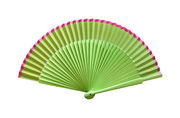Bright Lime Green Hand Fan with Pink Edge