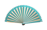 Art Deco Styled Turquoise & White Striped Hand Fan