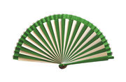 White & Green Striped Art Deco Hand Fan