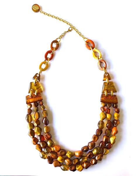 Dominique Denaive Long Necklace in Amber Orange Color