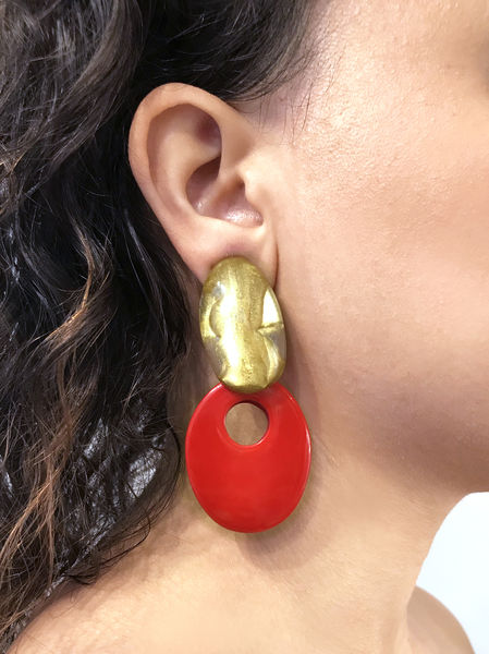 Dominique Denaive Art Deco Earrings in Red and Gold