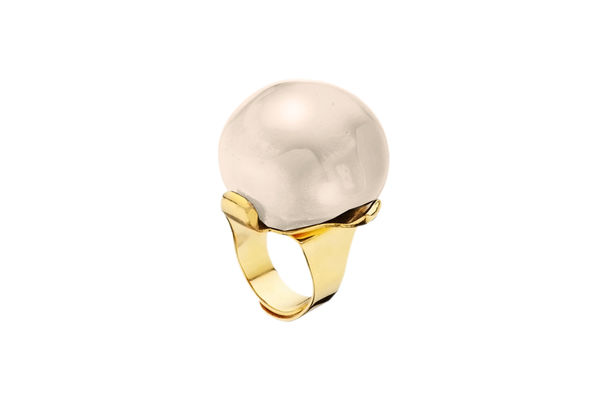 Dominique Denaive Pearly Ivory Adjustable Ball Ring