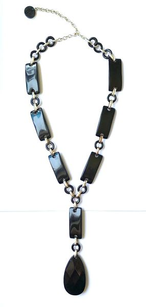 Dominique Denaive long black pendant necklace
