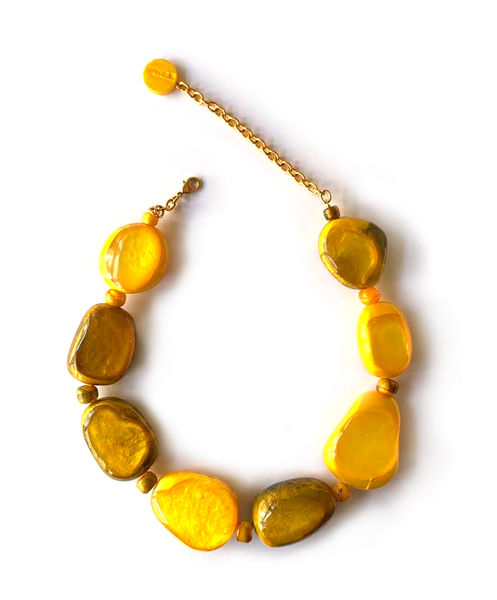 Dominique Denaive Golden Yellow Pebble Necklace