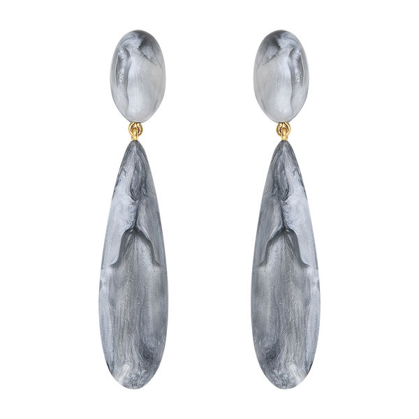Dominique Denaive Marbled Grey Earrings