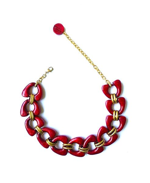 Dominique Denaive Red Chain Necklace