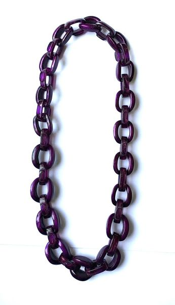 Dominique Denaive Long Violet Chain Necklace
