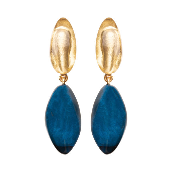Dominique Denaive Faceted Drop Earrings in Gold and Blue