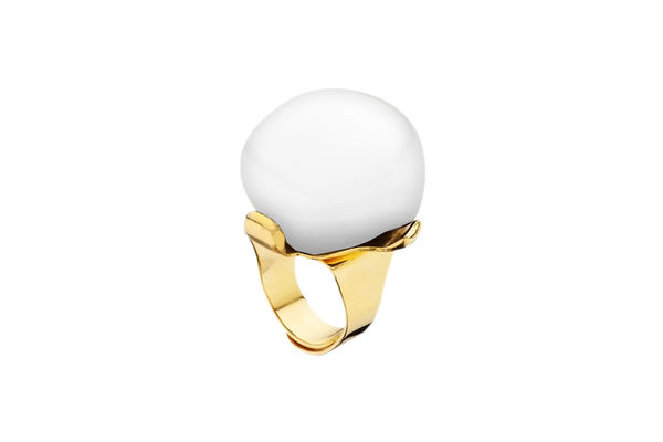Dominique Denaive White Adjustable Ball Ring