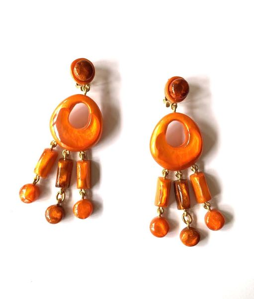 Dominique Denaive Long Bright Orange Earrings