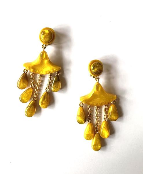 Dominique Denaive Golden Yellow Earrings with Fringe