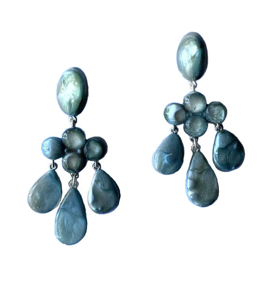 Dominique Denaive Long Sky Blue Chandelier Earrings