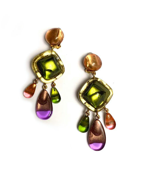 Dominique Deniave Multicolor Statement Earrings, Green