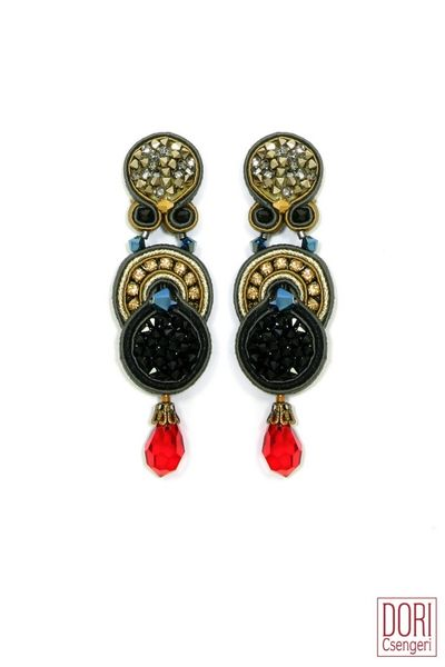 Dori Csengeri Venezia Earrings in Black & Gold