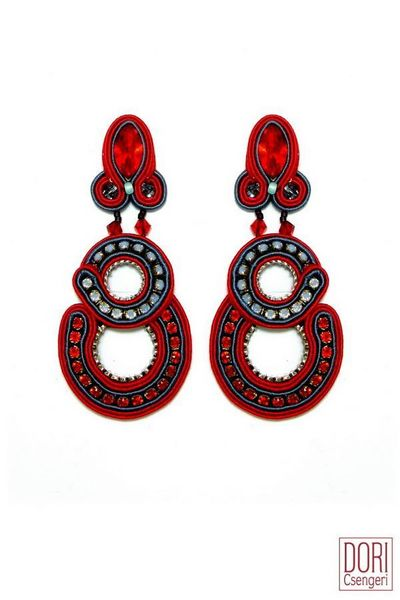 Dori Csengeri Red Fandango Cocktail Earrings