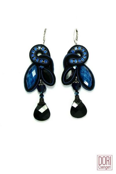 Dori Csengeri Blue Black Drop Earrings